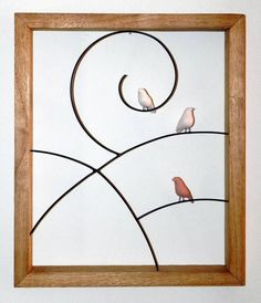 Quadro passarinhos | VILLASBRASIL | Elo7 Wire Crafts, Decor Crafts, Clay Wall Art, Metal Plant Stand, Ceramic Birds, Wire Art, String Art, Art Market, Rock Art