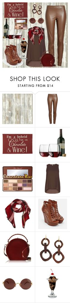 """""""Chocolate & Wine"""" by dobesht ❤ liked on Polyvore featuring RoomMates Decor, Joseph, Park B. Smith, Libbey, Too Faced Cosmetics, Dorothy Perkins, Burberry, JustFab, Bertoni and NEST Jewelry"""