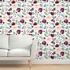 Wild at Heart Florals / White custom wallpaper by shopcabin for sale on Spoonflower Fall Wallpaper, Perfect Wallpaper, Wallpaper Roll, Peel And Stick Wallpaper, Kitchen Wallpaper, Burgundy Flowers, Red Flowers, Self Adhesive Wallpaper, Custom Wallpaper