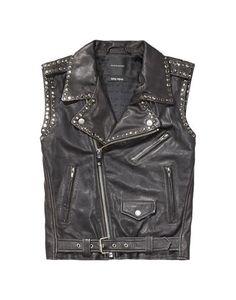 Black Leather Studded Biker Vest