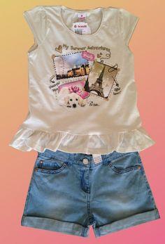 Conjunto Blusinha com babados e Shorts Jeans claro