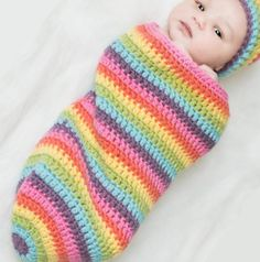 Rainbow Baby Cocoon- Multicolor Baby Girl Newborn Cocoon Baby Sack | unravelledthredz - Childrens on ArtFire