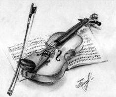 violin by FunnyTora on DeviantArt Pencil Drawings Tumblr, Art Drawings Sketches, Easy Drawings, Violin Drawing, Violin Art, Moon Art, Art Sketchbook, Pencil Art, Deviantart
