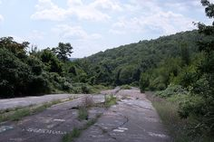 Centralia, Pennsylvania.  An underground coal fire from 1962 has rendered the town uninhabitable.