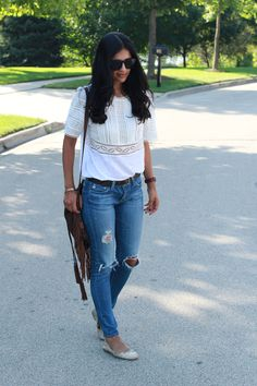 Casual Style - Rebecca Taylor linen lace tee, AG Jeans, Sam Edelman ballet flats, Fringe bag by Patricia Nash Designs