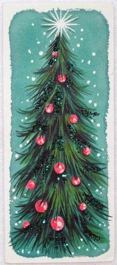 635 50s Hallmark Mid Century Glittered Tree Vintage Christmas Greeting Card | eBay