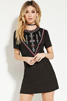 Embroidered Faux Suede Dress $29.90 WOMENS - Clothing | WOMEN | Forever 21