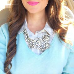 Obsessed with this necklace… and pink lipstick!