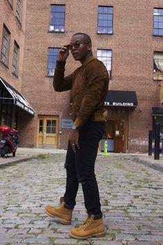 Suede jacket + black jeans + tan boots