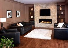 Image result for linear fireplace