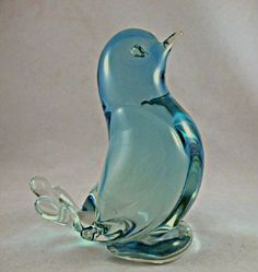Adorable Blue Murano Glass Bird Chick, GVS Ruby Lane Sale Jan 12-13
