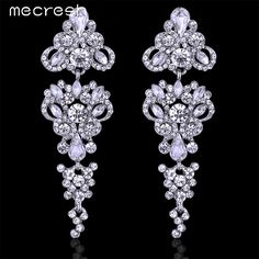 Mecresh Gorgeous Chandelier Shape Crystal Silver Plated Long Earrings for Women Wedding Jewelry EH198