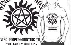 the family buisness. Supernatural Christmas, Supernatural Fans, John Winchester, Winchester Brothers, Senior Photo Outfits, Film Music Books, Geek Chic, Superwholock, Printed Tees