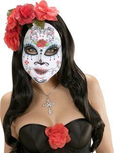 Ziehen Sie diese bunte Maske zum Thema Dia de los Muertos und dereiten Sie sich für den Tag der Toten oder Halloween vor!