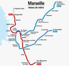 Métro : Marseille U-Bahn-Karte , Frankreich