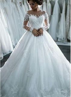 USD$229.00 - Ball-Gown Beaded Lace Sheer Long-Sleeves Wedding Dresses BA4150 - www.27dress.com