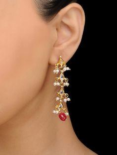 Jewelry Design Earrings, Gold Earrings Designs, Fashion Jewelry Necklaces, Silver Earrings, Fancy Jewellery, Gold Jewellery Design, Bridal Jewellery, Enamel Jewelry, Gold Jewelry