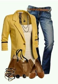 CHATA'S DAILY TIP: Our love for yellow continues with this modern, casual weekend look. Also perfect for a casual-smart Friday work-look! Add an element of interest by introducing accessories in ne… Mode Outfits, Fall Outfits, Casual Outfits, Fashion Outfits, Womens Fashion, Fashion Trends, 30 Outfits, Casual Blazer, Office Outfits