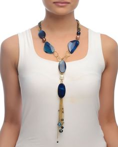Tassel Pendant Necklace with Blue Lapis Agate
