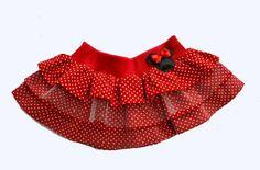Saia de babados da Minnie. Tecido: Poá e tule A cintura é feita de elástico na medida certa de cada criança. Todos os tamanhos, no entanto, as medidas devem ser passadas por e-mail (comprimento da saia a partir da cintura e a largura da cintura) R$ 57,37