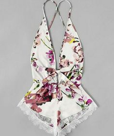 Product name: Contrast Lace Trim Floral Romper at SHEIN, Category: Sexy Lingerie Sexy Lingerie, Lingerie Plus, Lingerie Outfits, Lace Lingerie Set, Lingerie Sleepwear, Delicate Lingerie, Lace Playsuit, Floral Romper, Refashioned Clothes