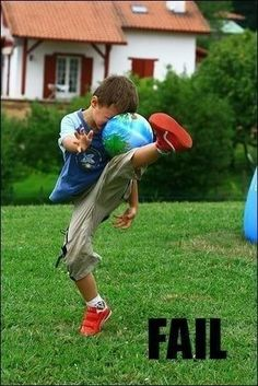 ok dude so i saw this and for some reason i thought of the time we were playing soccer in the back yard and you went to do something and instead you just landed on the ball and fell flat on your ass and so now i'm sitting at work trying to keep from laughing and failing horrible at it!! =D