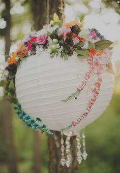 Turn a boring plain white paper lantern into an elegant romantic decor