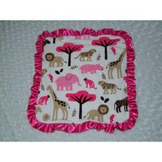 Pink Jungle Tales Security Blanket Ships in 1-3 Business Days ($17) ❤ liked on Polyvore featuring home, children's room, children's bedding, baby bedding, bedding, grey and home & living