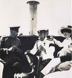 Dr. Botkin, Tsar Nicholas II and his daughter, Grand Duchess Tatiana Nikolaevna Romanov aboard the Imperial Yacht- The Standart.