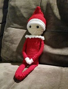 Elf on the Shelf - free crochet pattern by Sydney Duenas. 'There are strong magnets in the arms and legs, or you can stuff the arms and legs with extra fluffy pipe cleaners, to aid in bending and positioning.'
