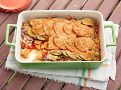 Tomato Vegetable Casserole : Giada's colorful veggie casserole, full of potatoes, yams, bell pepper and zucchini, would be excellent alongside grilled steak. Thanks to the crusty Parmesan-breadcrumb topping, it's filling enough to serve as a vegetarian main course, too.