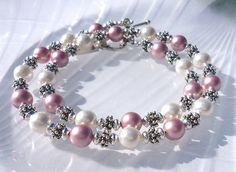 Crystal Pearl Jewelry Set, Pink Pearlized Swarovski Crystal Bracelet and Necklace, Beaded Jewelry Set