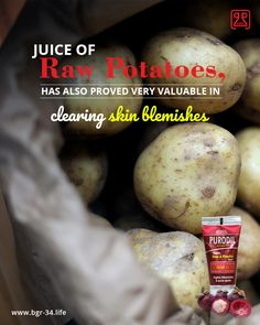 #HealthTip The juice of raw #potatoes has also proved very valuable in cleaning #skin #blemishes. this cleaning results from high content of #potassium, #sulphur, #phosphorus and #chlorine in the potato. these elements are, however, of value only when the potato is raw as in this state they are composed of live #organic atoms.  #Skincare #AcneTreatment #AcneCure #Ayurvedic #Natural #SummerAcne #AcneFact