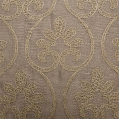 Chloe pattern with gold color on taupe linen style fabric : extra long curtains or fabric by the yard
