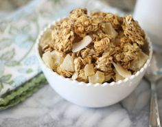 Perfect Granola - Crunchy, sweet gluten free granola with a hint of vanilla and peanut butter that is chock full of tropical dried fruit.