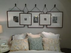 For headboard in guest room..pics of my nieces an grand-babies..Stacked frames. Pottery Barn.