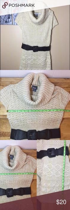 Cowl neck sweater Cowl neck sweater beautiful knitted details. Comes with belt 100% acrylic. See pictures for measurements. Thanks for looking at my closet . Remember you can always make an offer. Also, I offer 15%off of  bundles of 2+ Dots Sweaters Cowl & Turtlenecks