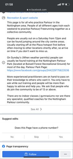 Sports Website, Parkour, Nottingham