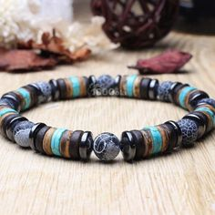 Man/woman Bracelet beads Ø natural Agate black Mat wood coconut/coconut Hematite Metal look Antique Tibetan style Metal Bracelets, Bracelets For Men, Silver Bracelets, Beaded Bracelets, Silver Rings, Black Leather Bracelet, Men's Leather, Brown Leather, Moda Masculina