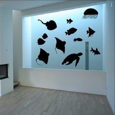 Sea Creatures Set of Twelve Vinyl Wall Decals Sea Turtle Jellyfish Rays 22411 - Cuttin' Up Custom Die Cuts - 1
