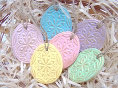 Easter Egg Decorations Set of 6 Easter Garland Hanging Egg Air Draw Clay Easter decor Pastel colors by Tatianaday on Etsy