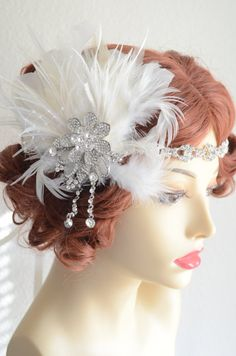 Art Deco headpiece HIGH GLAM piece, detachable feather fascinator and 16inches of crystal rhinestone headband that sparkles like DIAMONDS