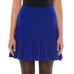 Elie Tahari for DesigNation Ribbed Flounce-Hem Skirt - Women's