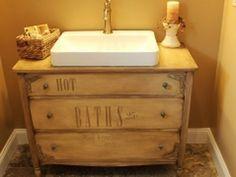 DIY bathroom sink using a dresser. #restore