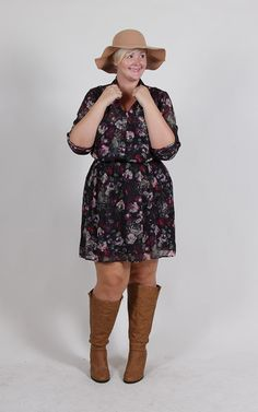Plus Size Clothing for Women - Floral Chiffon Plus Size Dress (Sizes 14 - 20) - Society+ - Society Plus