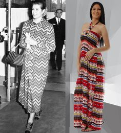 Maxi Dresses - Then & Now. Grace Kelly sporting the geometric maxi in the 70's. Shop the Classic Maxi Dress Styles on www.dress4less.co.in