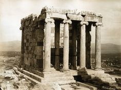 Dimitrios Konstantinou's sublime photo taken in 1865 at the Acropolis of the Temple of Athena Nike & its monolithic Ionic columns. Athens Acropolis, Parthenon, Classical Greece, History Of Photography, Stone Work, Ancient Greece, Ancient Art, Archaeology, Temple