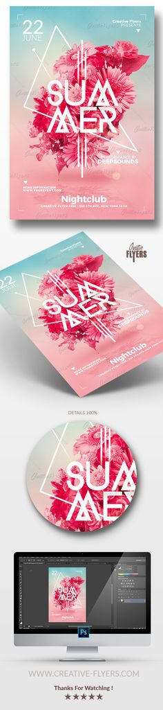 """Create eye-catching flyer Template ! If you liked this style, enjoy downloading this Photoshop PSD Template """"Summer Flyer Templates"""", a first-rate design... #summer #psd #flyer #template #photoshop #poster #minimalist #floral #invitation #creative #posters"""