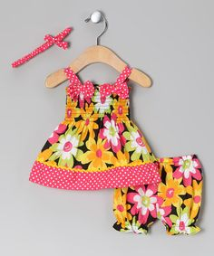 Take a look at this Coral & Yellow Flower Garden Dress Set - Infant by Mon Petit on #zulily today!