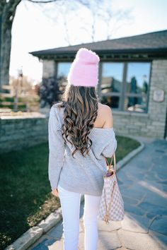 pink fuzzy beanie, love the curls too!